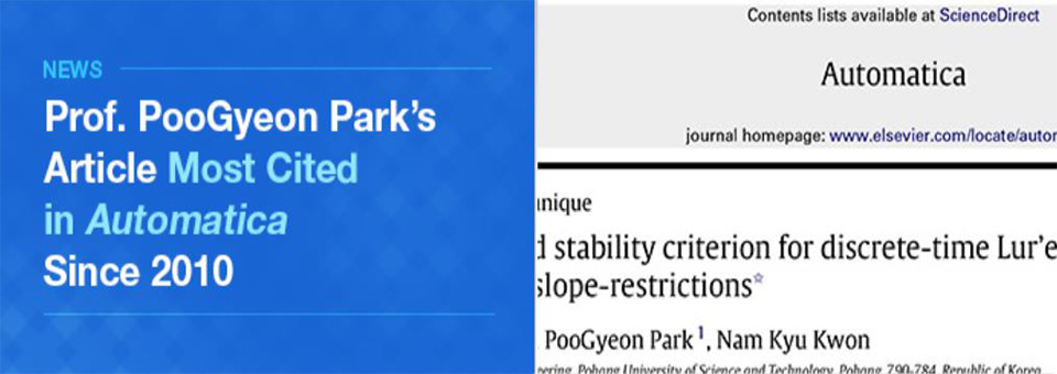Prof. Poogyeon Park's Article Most Cited in Automatica Since 2010